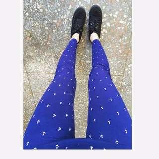 🚚 圖騰/復古/古著/船錨/vintage/彈性 寶藍 內搭褲/打底褲/legging