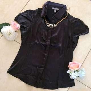 Mango Black Satin Shirt