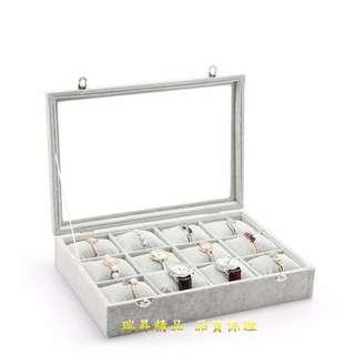 冰花絨 12位 手錶  首飾 手鍊盒 展示盒 手錶盒 收納盒 首飾盒 手鍊展示盒 手錶收納盒 玻璃蓋