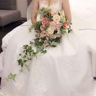 歐美風瀑布仿真鮮花捧花 婚紗外拍作品新娘秘書創作