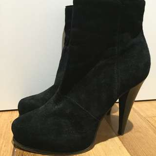 Suede Black Heeled Boots