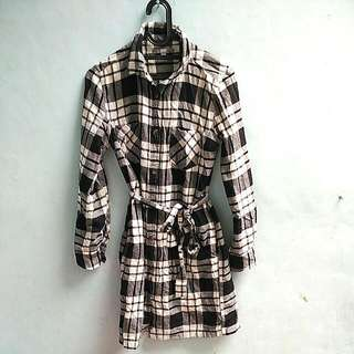 Uniqlo Flannel Shirt Dress In Tartan