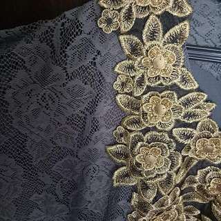 Lace Kaftan With Gold Emboidery