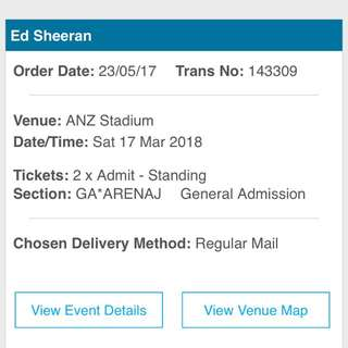 2x Ed Sheeran Tickets! (Negotiable price)
