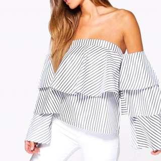 Henny Ruffle Stripe Bardot Top