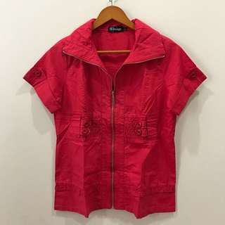 Red Blouse With Zipper