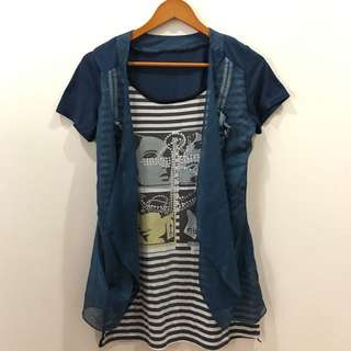 Stripe Blouse With Outer