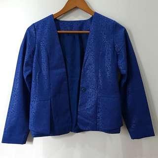 Blazer Biru Corak