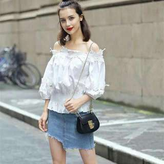 💕New Arrival U.S. Style Embroidery Lace Off Shoulder Blouse💕 🎀Styled with precious embroidery lace detail🎀 🎀Free size fits small to large🎀 Original Price: P320 Only!!