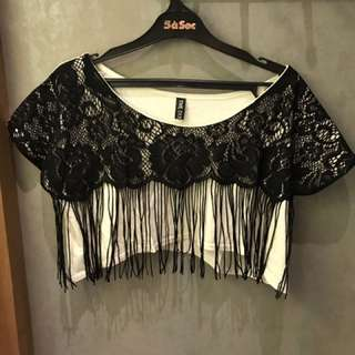 Preloved Fringe Cropped Lace Top