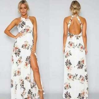 Hera Long Slit Sexy Back Maxi Dress
