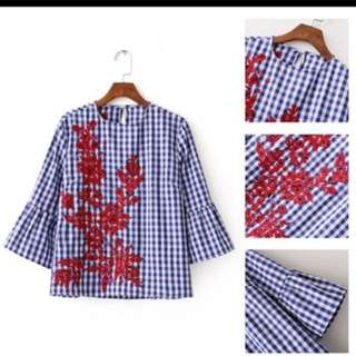 Bell Sleeves Embroidered Check Blouse