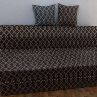 SALEM QUEEN SIZED SOFA BED, COMES WITH 2 SQUARE PILLOWS