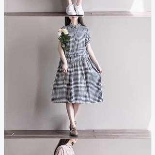 日系寬鬆格子洋裝