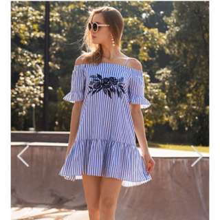 The Closet Lover Reagan Embroidered Stripes Dress - Size M
