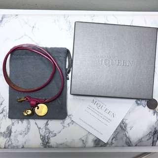 AUTHENTIC Alexander MQueen Skull Charm Bracelet - Magenta Leather Strap
