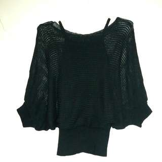 Black Batwing Sleeve Knit Top