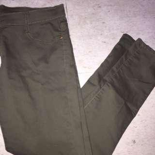navy green pants
