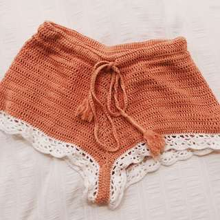 ARNHEM Orange Crochet Shorts