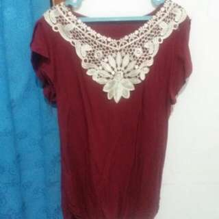 Blouse Maroon Renda