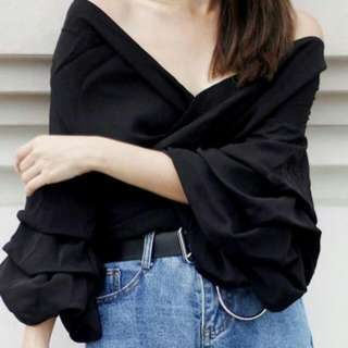 POMELO Elodie Ruffle Sleeves Top (S)