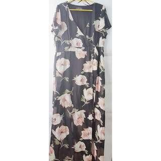 Wrap Dress with slit (plus size)