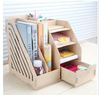 (6月15日出貨)1034B DIY木質創意文件收納盒 辦公用品大號抽屜式桌面收納盒木質文件架創意文件盒木製置物架