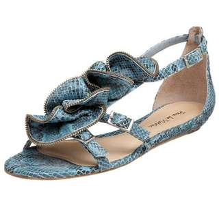 New Snakeskin Ankle Strap Flat Sandals