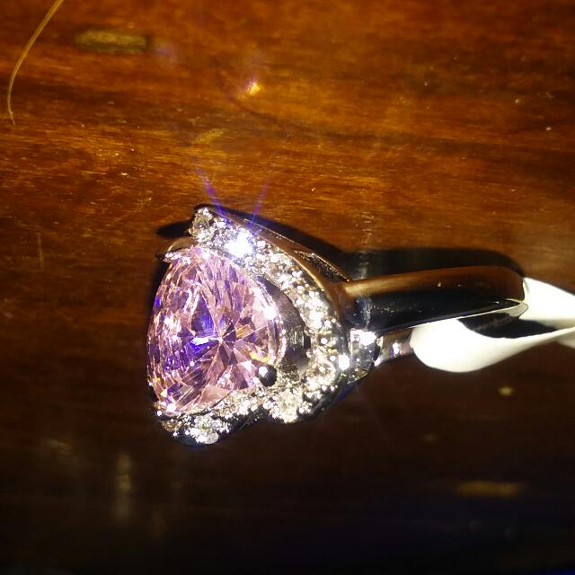 925 Silver Pink Topaz 'S Ring