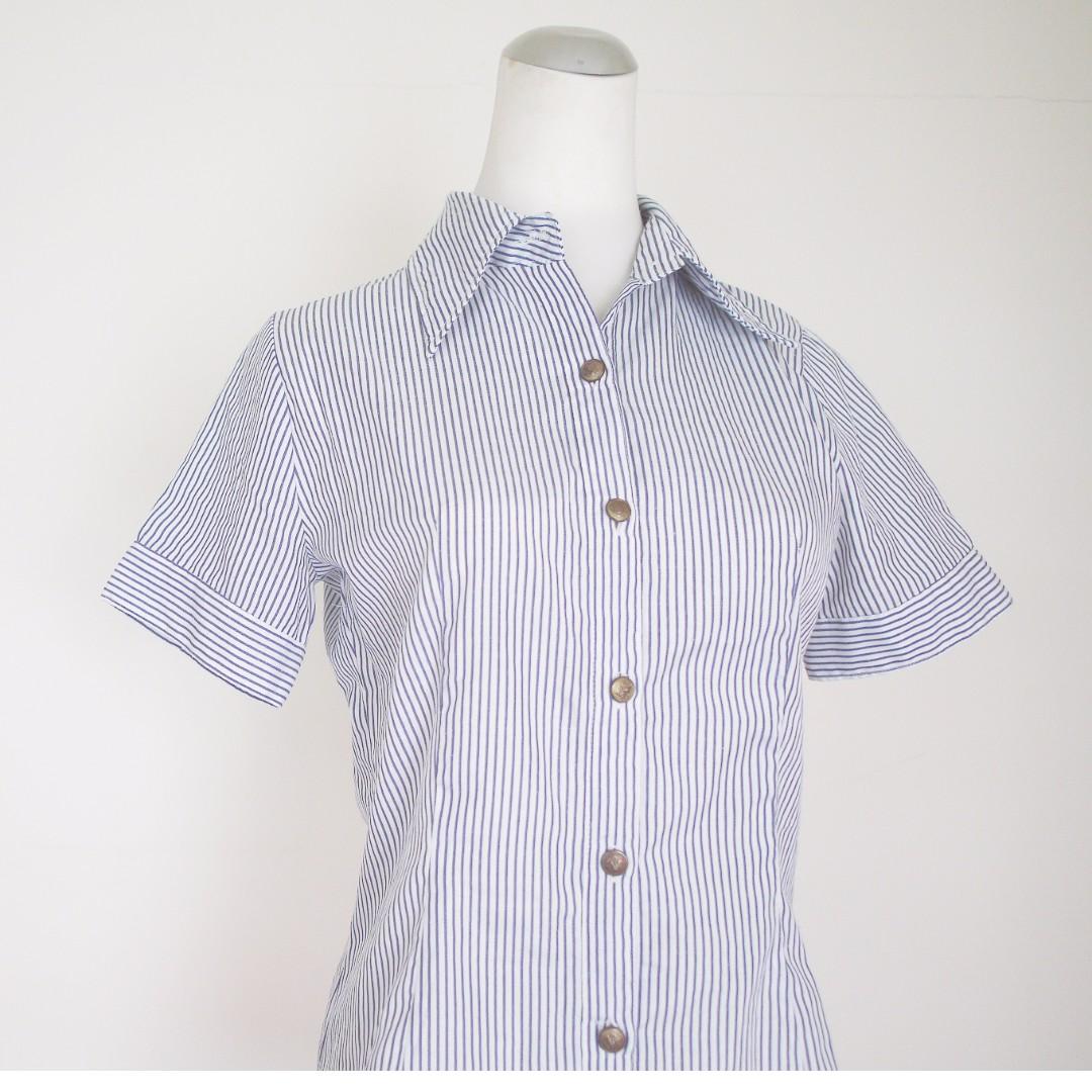 日貨夏日清爽藍白條紋顯瘦襯衫