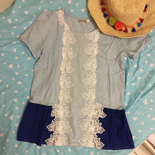 🌊正韓 海洋藍拼色蕾絲長版上衣