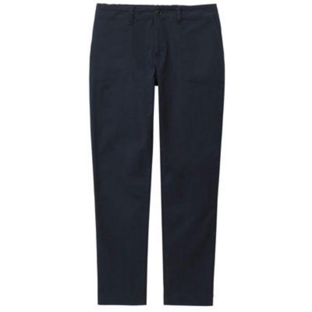 無印良品 女有機棉混彈性綾織舒適九分工作褲深藍
