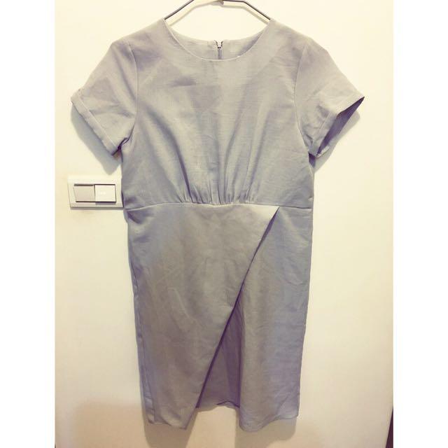 正韓 灰色短袖質感簡約洋裝