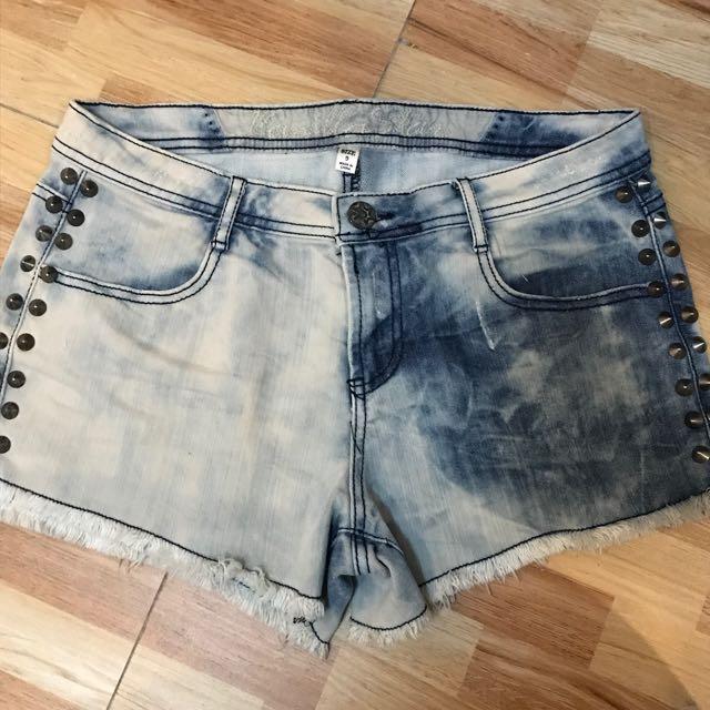 Acid Washed Mid Rise Shorts