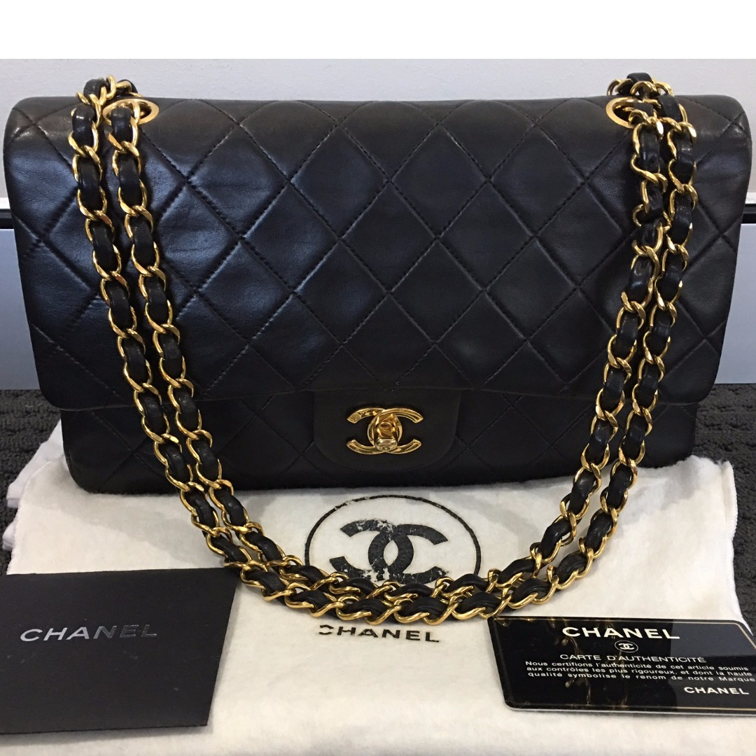 Authentic CHANEL Vintage Black Lambskin Medium Double Flap 24K Gold Hardware Shoulder Bag
