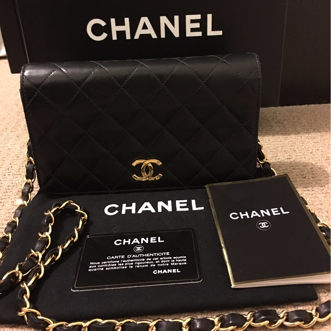 Authentic CHANEL Vintage Black Lambskin Wallet on Chain WOC 24K Gold Hardware Shoulder Bag
