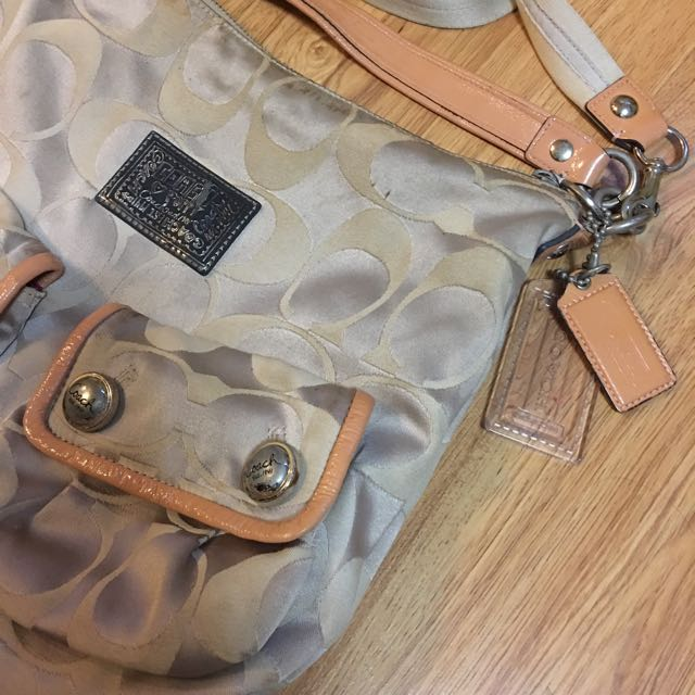 Authentic Coach Poppy Signature Sateen Pocket Bag
