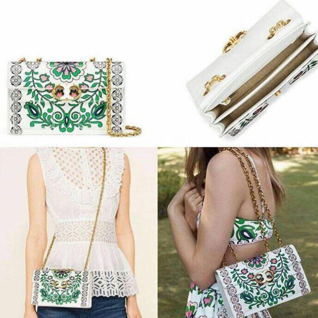 abad0594631 Authentic Tory Burch Gemini Link Printed Garden Party Chain Shoulder ...