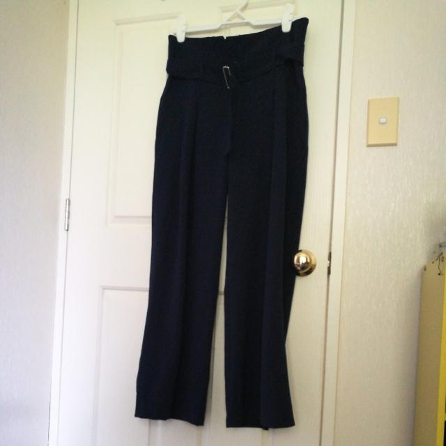 bell bottom pants navy blue high-waisted