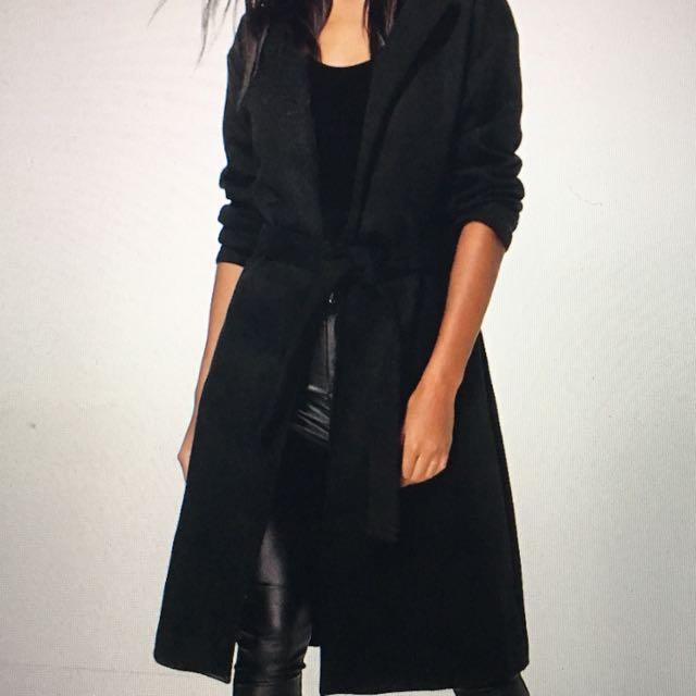 Belted Wool Look Coat (BooHoo)