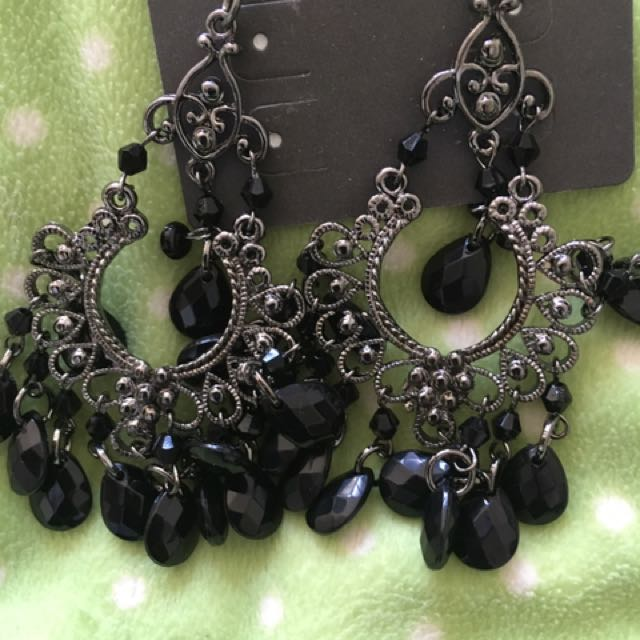 Black Costume Earrings. Unused