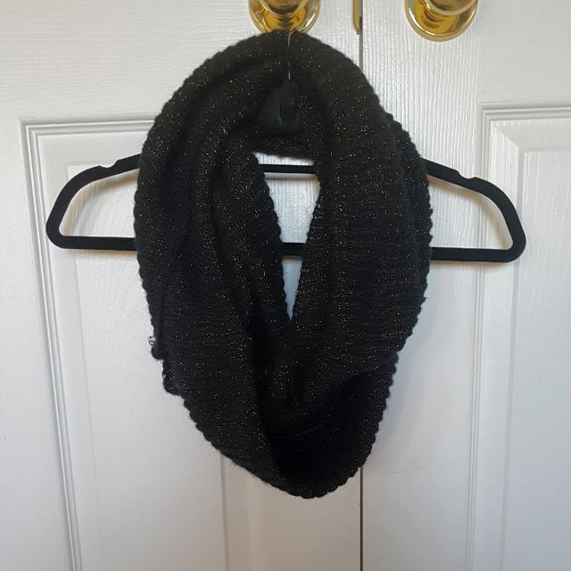 Black With Gold Specs Infinity Scarf