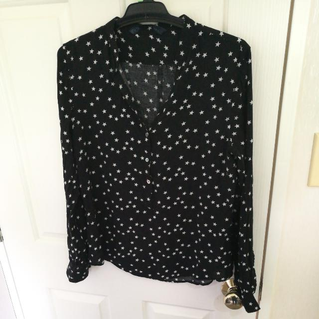 blouse black stars