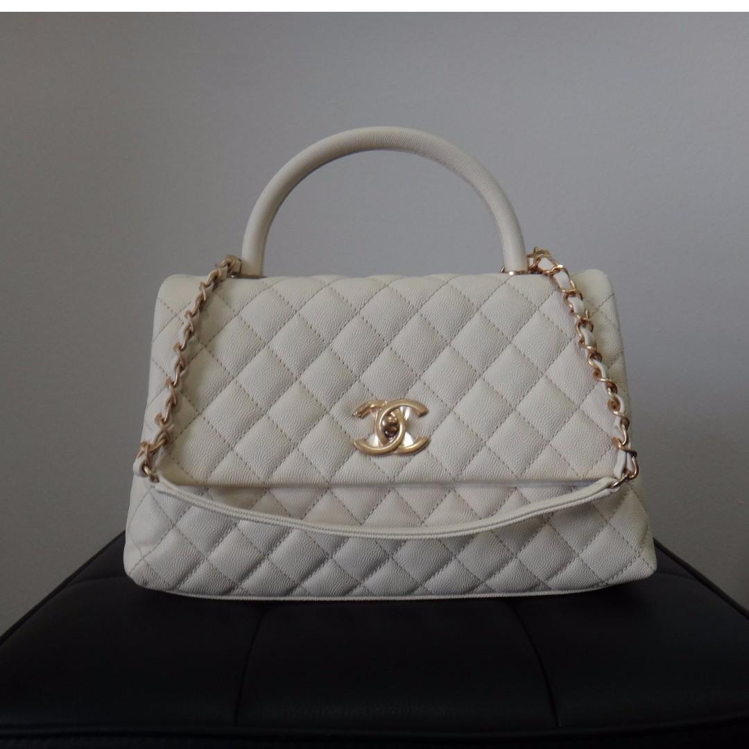 BNIB Chanel Small Coco Handle Bag Blanc, Luxury, Bags   Wallets on ... d8296aa2cd