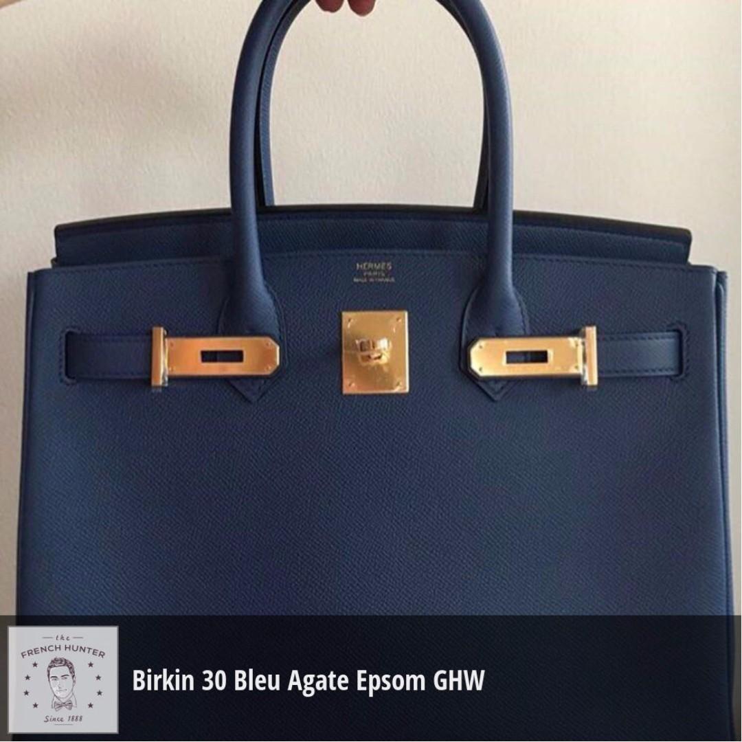 0675004194 BNIB Hermès Birkin 30 Bleu Agate Epsom Gold Hardware GHW A Stamp ...