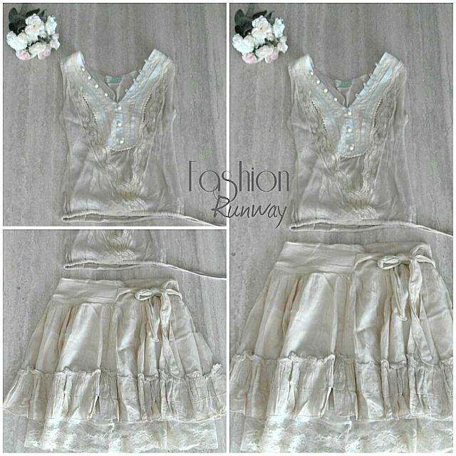 DISKON Bohemian Style Cream Dress