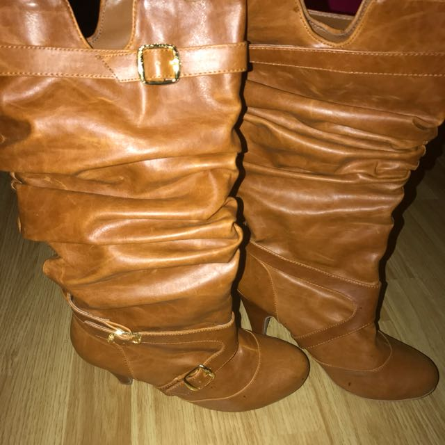 Brown Low Heel Mid Calf Boots, Size 8