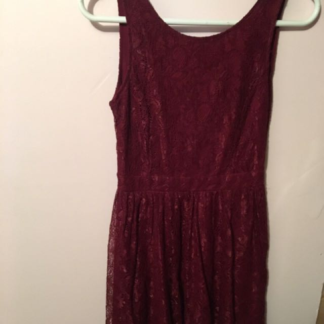 Burgundy Lace Dress With Criss Cross Back