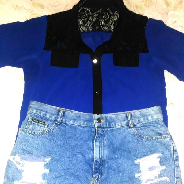Classy Dark Blue Blouse