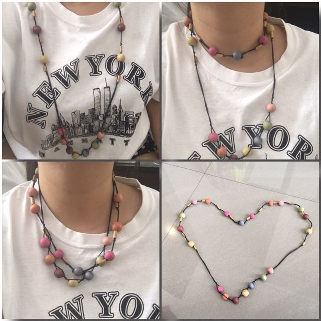 Colorful Wooden Beads Necklace 2